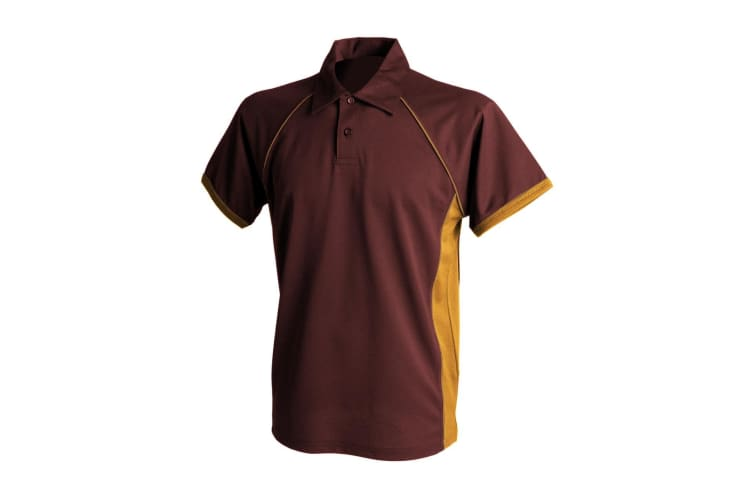 Finden & Hales Mens Piped Performance Sports Polo Shirt (Maroon/ Amber/ Amber) (3XL)