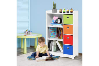 Kids Bookshelf Wood Bookcase Book Storage Rack Stand w/7 Cubes - White