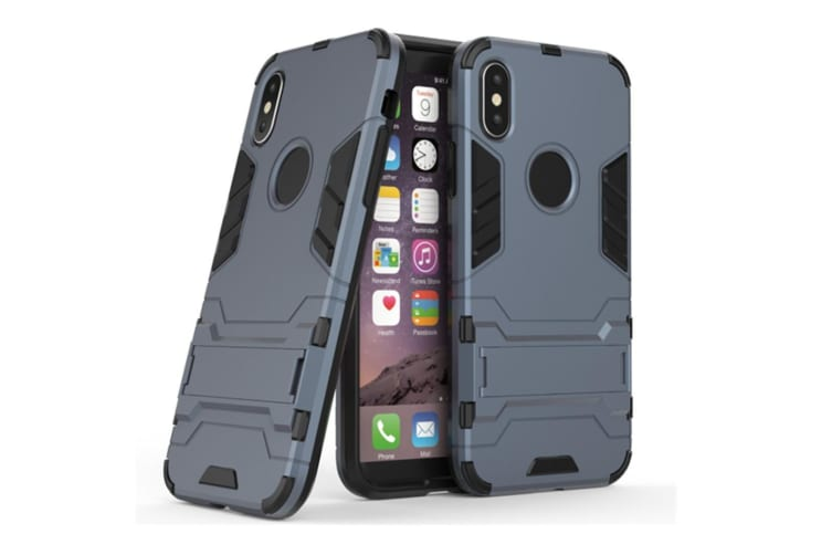Full-Armoured Protective Case Of Steelman Stealth Bracket Phone Case For Iphone Blue Black Iphone 8