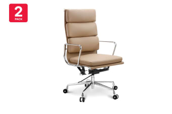 2 Pack Ergolux Executive Eames Replica High Back Padded Office Chair (Light Brown)