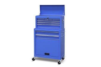 8 Drawers Tool Chest Metal Tool Box Cabinet 61.5cm x 33cm x 111.5cm Blue