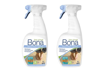 2x Bona 1L Hypoallergenic Wood/Timber Floor Cleaner Spray Maintenance/Cleaning