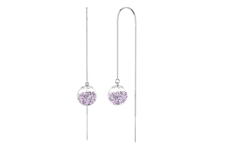 .925 Nomey Threader Crystal Ball Earrings-Silver/Violet
