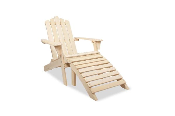 Adirondack Chair & Ottoman Set  (Natural)