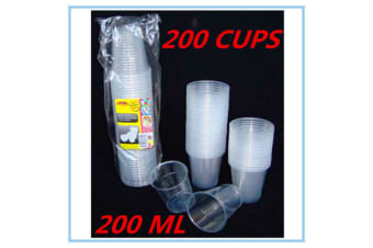 200 x CLEAR DISPOSABLE PLASTIC DRINKING CUPS - REUSABLE 200ML - PARTY RESTAURANT EVENT