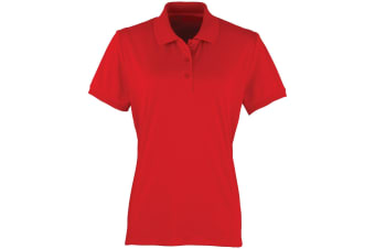 Premier Womens/Ladies Coolchecker Short Sleeve Pique Polo T-Shirt (Red) (S)
