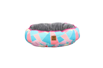 Pet Reversible Oval Pad - Multi Triangle S-45 x 56 x 15cm