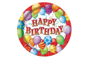 Unique Party 9 Inch Plates - Birthday Balloons (Multicoloured) (One Size)