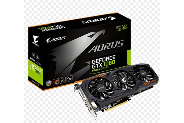 Gigabyte nVidia GeForce GTX 1060 AORUS 6GB PCIe Video Card 8K @ 60Hz 3xDP HDMI DVI 1860/1835 MHz VR Ready RGB Fusion Copper Back Plate Cooling
