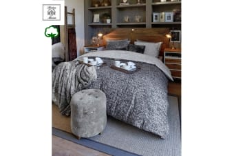 Coco Anthracite Quilt Cover Set King by Riviera Maison