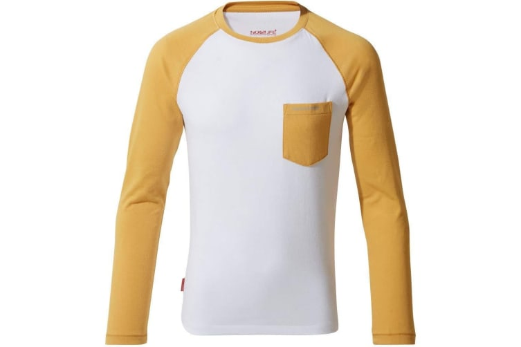 Craghoppers Childrens/Kids NosiLife Lorenzo Long Sleeved T-Shirt (Indian Yellow/Optic White) (13 Years)
