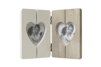 Wooden Double Heart Photo Frame (Wood)