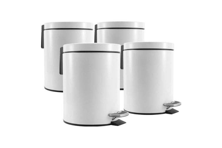 SOGA 4X 12L Foot Pedal Stainless Steel Rubbish Recycling Garbage Waste Trash Bin Round White
