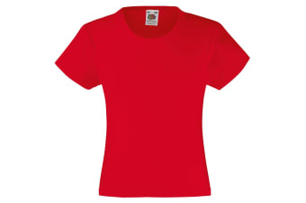 Fruit Of The Loom Girls Childrens Valueweight Short Sleeve T-Shirt (Pack of 2) (Red) (12-13)