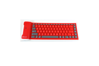 Wireless Bluetooth Portable Waterproof Roll Up Silicon Flexible Keyboard Red