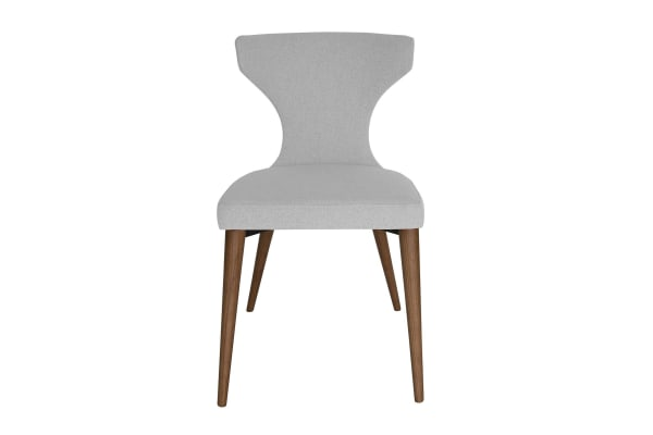Havana Dining Chair | Light Grey Fabric | Walnut Legs