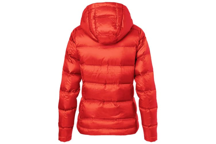 James and Nicholson Womens/Ladies Hooded Down Jacket (Flame Red/Black) (XXL)
