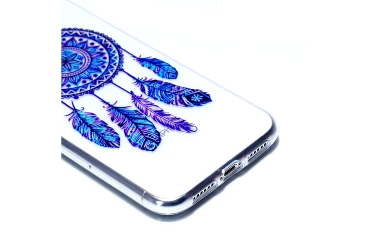 Transparent Varnish Painting Soft TPU Case For iPhone XR Blue Windbell