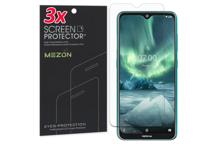 [3 Pack] Nokia 7.2 Anti-Glare Matte Screen Protector Film by MEZON – Case Friendly, Shock Absorption (Nokia 7.2, Matte)