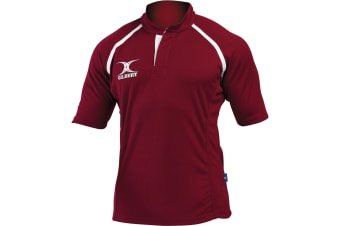 Gilbert Rugby Childrens/Kids Xact Match Short Sleeved Rugby Shirt (Maroon) (7-8 Years)