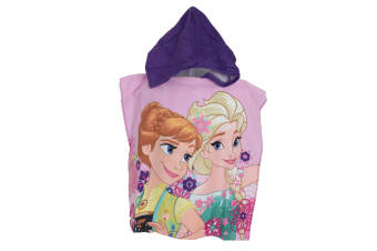 Frozen Childrens/Kids Elsa & Anna Towelling Poncho (Pink) (One Size)