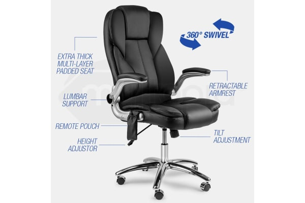 8 Point Massage Executive Office Computer Chair - Remote PU Leather