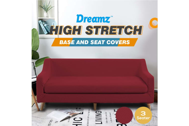 Dreamz Couch Sofa Base & Seat Cover Stretch Protector Slipcover 3 Seater Wine AU