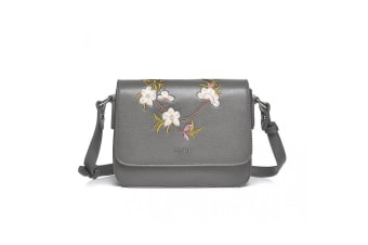 Fable Womens/Ladies Blossom Embroidered Crossbody Bag (Grey)