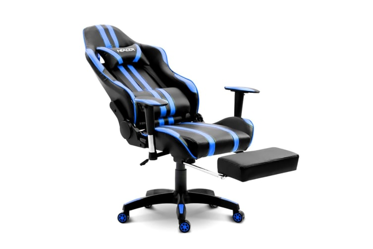 Home Office Computer Gaming Chair w/ Footrest and Tilt - Blue/Black