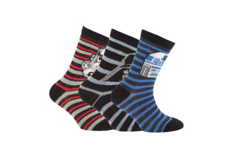 Disney Star Wars Childrens Boys Official Patterned Socks (Pack Of 3) (Red/Blue/Black)