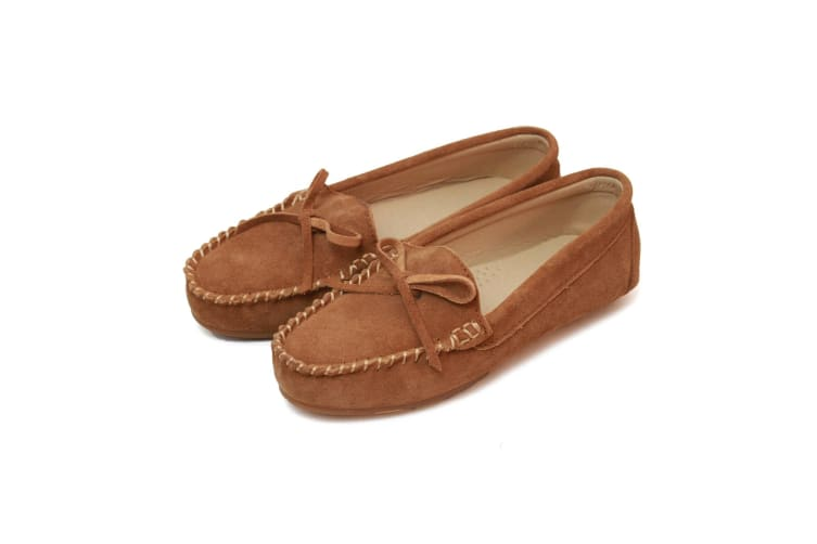 Eastern Counties Leather Womens/Ladies Suede Moccasins (Chestnut) (7 UK)