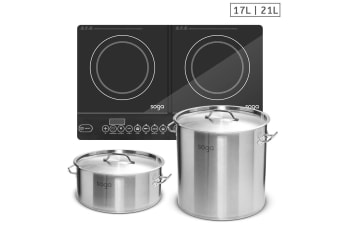 SOGA Dual Burners Cooktop Stove, 21L and 17L Stainless Steel Stockpot Top Grade Stock Pot