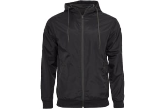 Build Your Brand Mens Zip Up Wind Runner Jacket (Black/Black) (4XL)