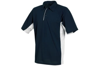 Tombo Teamsport Mens Pique Sports Polo Shirt (Navy/White/White piping)
