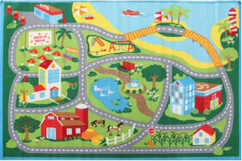 Kids Non Slip Road Map Beach Rug Blue 200x133cm