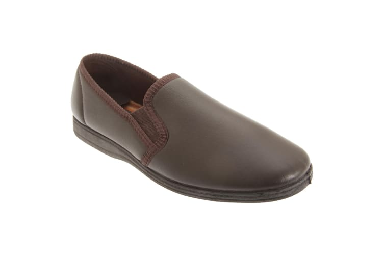 Sleepers Mens Softie Leather Twin Gusset Slippers (Dark Brown) (8 UK)