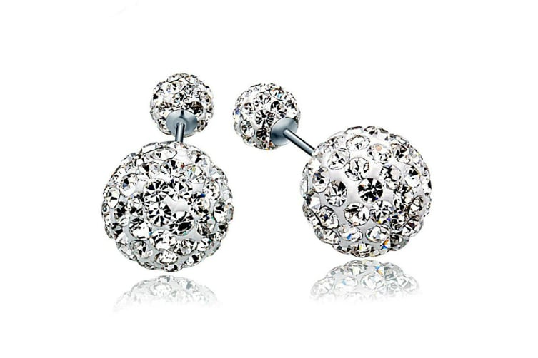 .925 Silver Sparkle By Duo Earrings-Silver/Clear