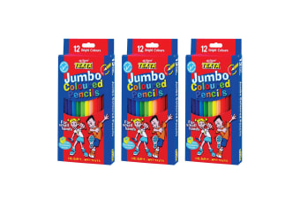 3x 12pc Texta Jumbo Colouring Pencils School/Home Art Drawing Coloured f/ Kids