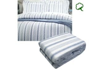 Regatta Blue 100% Cotton Quilted Quilt Cover Set by Brighton Road