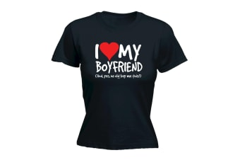 123T Funny Tee - I Love My Boyfriend And Yes He Did Buy Me This - (XX-Large Black Womens T Shirt)