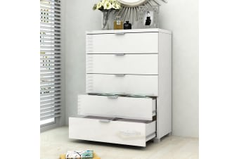 Kyana High Gloss 5 Drawer Chest Tallboy Dresser  Table Cabinet Bedroom Storage