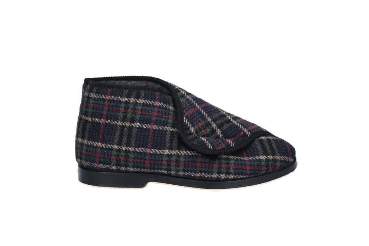 GBS William Great British Touch Fastening Bootee / Mens Slippers / Mens Bootee (Check) (12 UK)