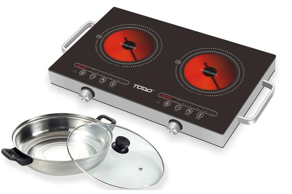 2400W Twin Hot Plate Infrared Cooker Ceramic Glass Top + 3L Stainless Steel Pot