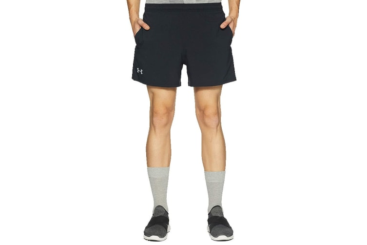 "Under Armour Men's Launch 5"" Shorts (Black/Reflective, Size Large)"