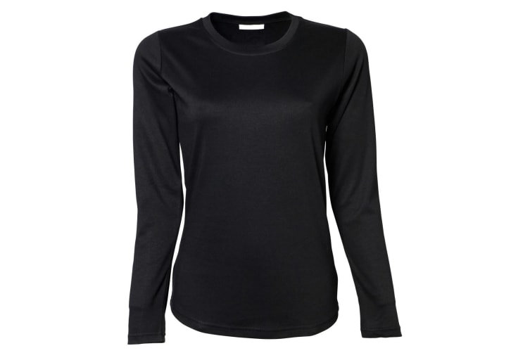 Tee Jays Womens/Ladies Interlock Long Sleeve T-Shirt (Black) (M)