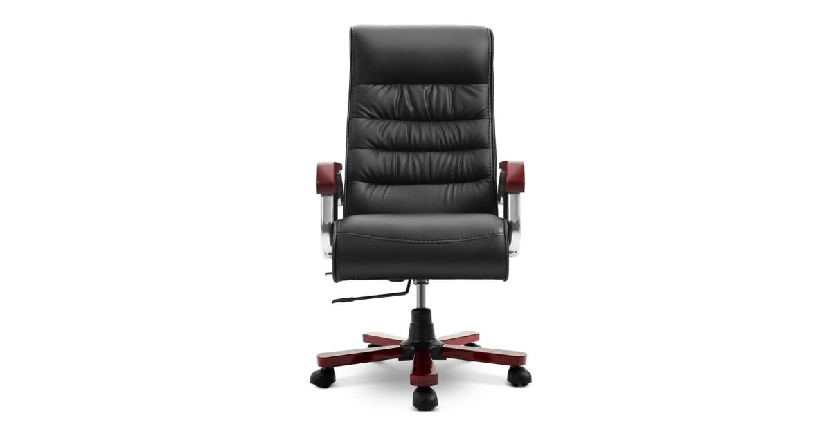 Swell Executive Pu Leather Wood Office Chair Computer High Back Seat Recliner Office Chairs Caraccident5 Cool Chair Designs And Ideas Caraccident5Info