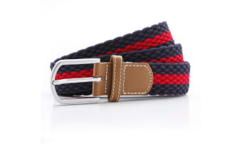 Asquith & Fox Mens Two Colour Stripe Braid Stretch Belt (Navy/Red) (One Size)