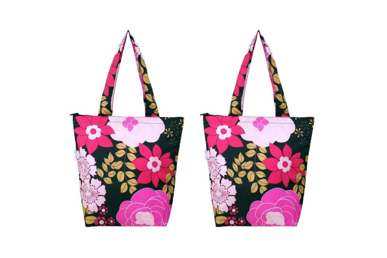 2x Sachi Insulated Thermal Cooler Shopping Bag Storage Market Tote Floral Blooms