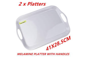 2 x Glossy White Rectangular Melamine Serving Trays w Handle Food Tray Platter 41CM