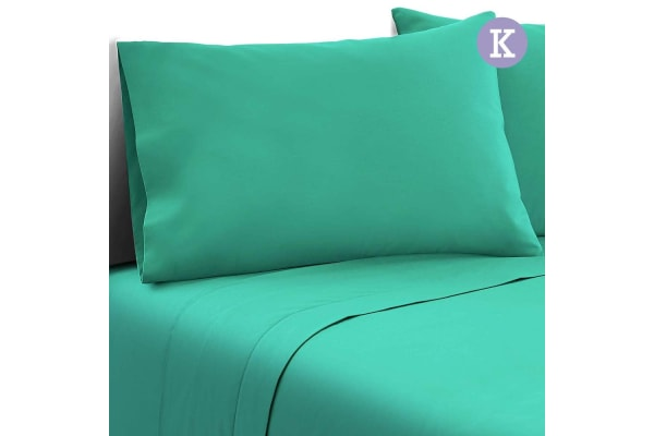 4 Piece Microfibre Sheet Set (King/Aqua)